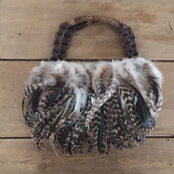 "Linda Sanders Handbags - Linda Sanders Feather handbag, 11""x7"""